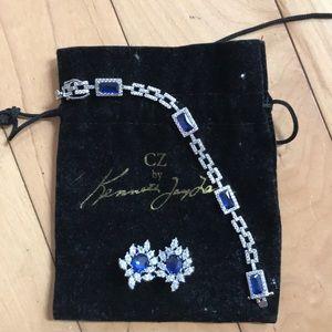 CZ Kenneth Jay Lane bracelet & matching earrings